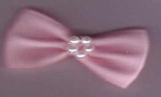 Bow with Pearls - Chunky Pale Pink 421-22P