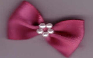 Bow with Pearls - Chunky Dusky Pink 421-22P