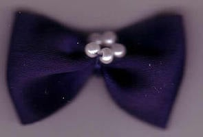 Bow with Pearls - Chunky Navy 421-22P