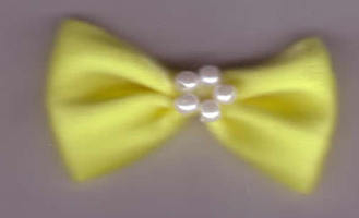 Bow with Pearls - Chunky Yellow 421-22P