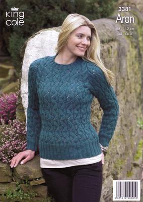 """3381 Knitting Pattern - Aran 34"""" - 44""""  Ladies*"""