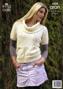 """3328 Knitting Pattern - Aran Ladies 32"""" - 42""""*"""