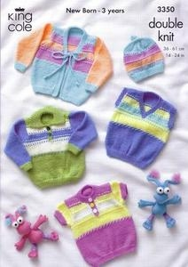 3350 Knitting Pattern - Double Knit Babies 14 - 24