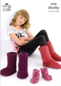 3344 Knitting Pattern - Chunky Slippers 1-2 years to Adult*