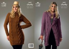"3437 knitting pattern - Chunky 28/30 - 44/46"" Ladies*"