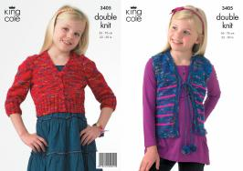"3405 Knitting Pattern - Girl's Double Knit 22"" - 30""*"