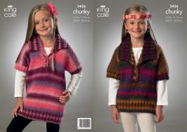 "3436 Knitting Pattern - Chunky 20/22"" - 28/30"" Girls*"