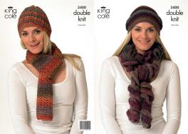 3400 Crochet Pattern - Double Knit Hat & Scarf