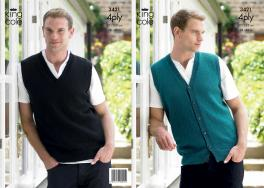 "3421  Knitting Pattern - 4 Ply 38"" - 48"" Mens*"