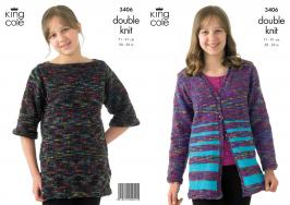 3406 Knitting Pattern - Double Knit Girls 28