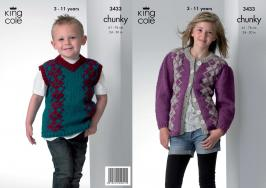 "3433 Knitting Pattern - Chunky 24"" - 30"" Boys and Girls*"