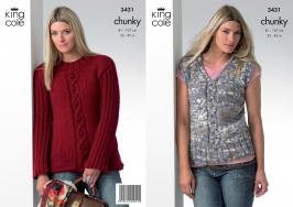 "3431 Knitting Pattern - Chunky 32"" - 42"" Ladies*"