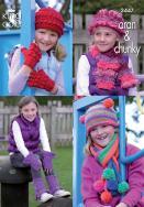 3447 Knitting Pattern  Aran & Chunky  - Girls Hats, Leg Warmers, Scarfs & G