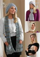 3444 Knitting Pattern  DK  - Ladies Hats, Scarfs, Wrap & Gloves