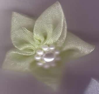 Chiffon Flower with Pearls - Lemon