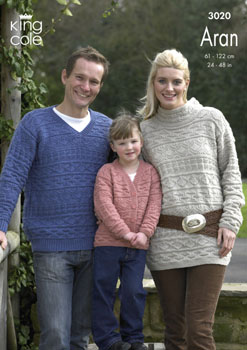 3020 Knitting Pattern - Men's, Women's and Children's Aran*