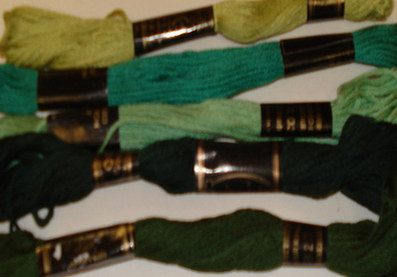 Embroidery Threads (Greens) PK5