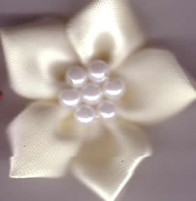 Ribbon Flower with Pearls - Cream