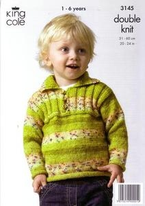 3145 Knitting Pattern - DK Splash Childrens