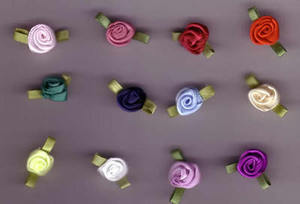 Small Ribbon Roses (pk 6)