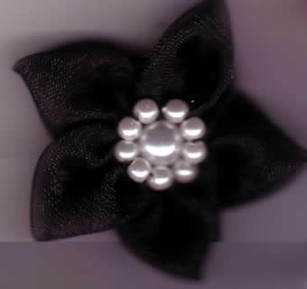 Chiffon Flower with Pearls - Black