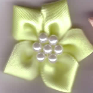 Ribbon Flower with Pearls - Lemon