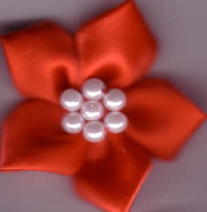 Ribbon Flower with Pearls - Red