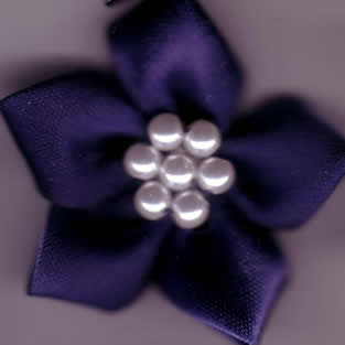 Ribbon Flower with Pearls - Navy