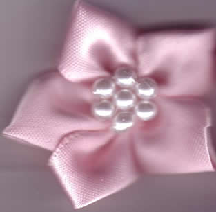Ribbon Flower with Pearls - Pale Pink