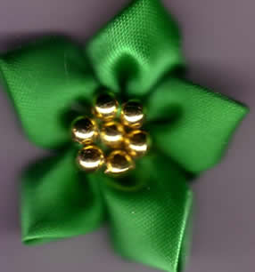 Ribbon Flower with Gold Beads - Green