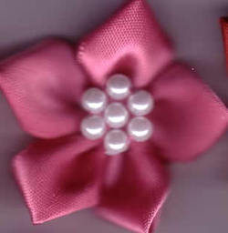 Ribbon Flower with Pearls - Dusky Pink