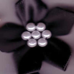 Ribbon Flower with Pearls - Black