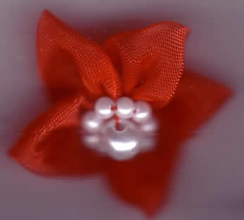 Chiffon Flower with Pearls - Red