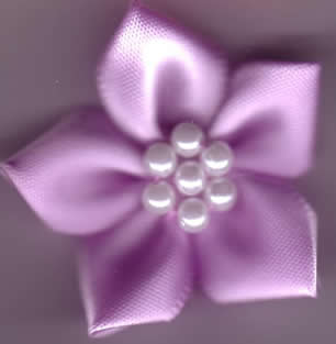 Ribbon Flower with Pearls - Lilac