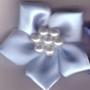 Ribbon Flower with Pearls - Pale Blue