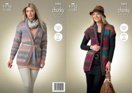 "3483 Knitting Pattern - Ladies Chunky 32"" - 50"" (Easy Knit)*"
