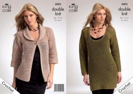 "3093 Crochet Pattern - Ladies Double Knit 34"" - 46""*"