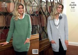 "3455 knitting Pattern - Ladies Double Knit 32"" - 42"""