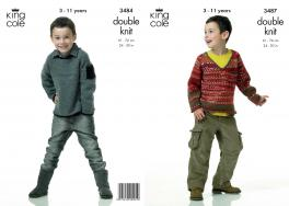 "3487 Knitting Pattern - Boys Double Knit 24"" - 30""*"