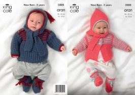 "3505 Knitting Pattern - Aran 14"" - 22"" Babies*"