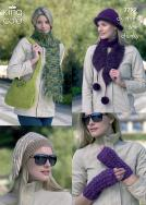 3299 Knitting Pattern DK, Mohair & Chunky - Ladies Hats, Scarfs, Wrist Warmer & Bag*