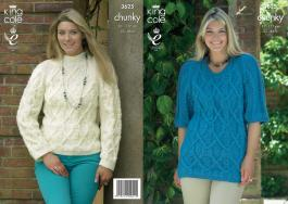 3625 Knitting Pattern Chunky - Ladies 32 - 46
