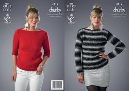 3612 Knitting Pattern Chunky - Ladies 32-34 and 48-50ins