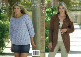 3623 Knitting Pattern Chunky - 32 - 44 ins Ladies