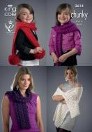 3614 Knitting Pattern Chunky - Scarfs and Wrap 4 Yrs to Adult*