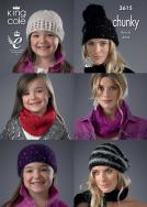 3615 Knitting Pattern Chunky - Hats and Scarfs 4Yrs to Adult