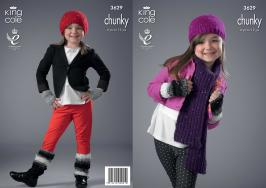 3629 Knitting Pattern Chunky - Hats, Scarf, Leg Warmers & Fingerless Mitts