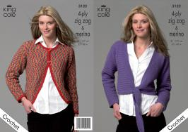 "3122 Crochet Pattern 4 ply Zig Zag & Merino Ladies 32 -42""*"