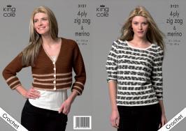 3121 Crochet Pattern 4 ply Zig Zag & Merino - Ladies 32 - 40