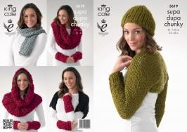 3619 Knitting Pattern Supa Dupa Chunky - Shrugs, Snood,Scarf, Hat, & Wrist